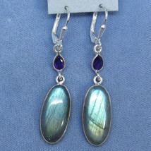 Labradorite and Amethyst Sterling Silver Leverback Earrings 182449 Fancy... - $169.99