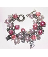 Shopping Queen Bangle Bracelet Charms & Pink Faux Pearls New - $24.99