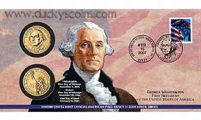 QTY 2 -- 2007 - George Washington - First Day Coin Cover - P21