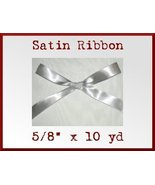 Silver Satin Single Face Polyester Ribbon 5/8 x... - $2.75
