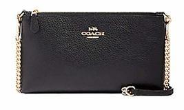 Coach Pebbled Leather Top Zip Crossbody Shoulder Handbag (Black/Gold)
