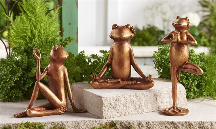 Set of 3 - Yoga Frog Design Figurines - Tranquility - Antique Bronze Polystone