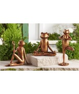Set of 3 - Yoga Frog Design Figurines - Tranquility - Antique Bronze Pol... - $98.99