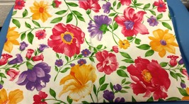 """Flannel Back Vinyl Tablecloth 52"""" X 70"""", Colorful Flowers By Ap - $15.83"""