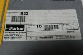 Parker B22 Valved Pneumatic Quick Coupler 1/4 NPT Male Brass Pack of 2 New image 2
