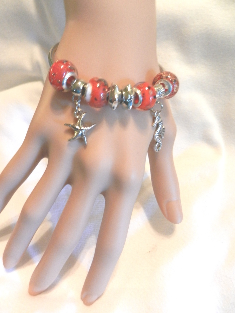 Primary image for New Sea Ocean European Beads Bangle Seahorse Starfish Charm Bracelet