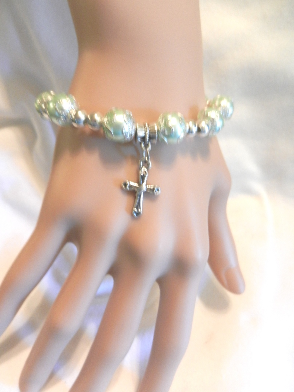 Primary image for New Dainty Light Blue  Stretch  Faux Pearl  Beads Cross Crucifix  Bracelet