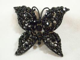 Black Rhinestone BUTTERFLY Brooch Pin Japanned Filigree Vintage Estate  - $21.77