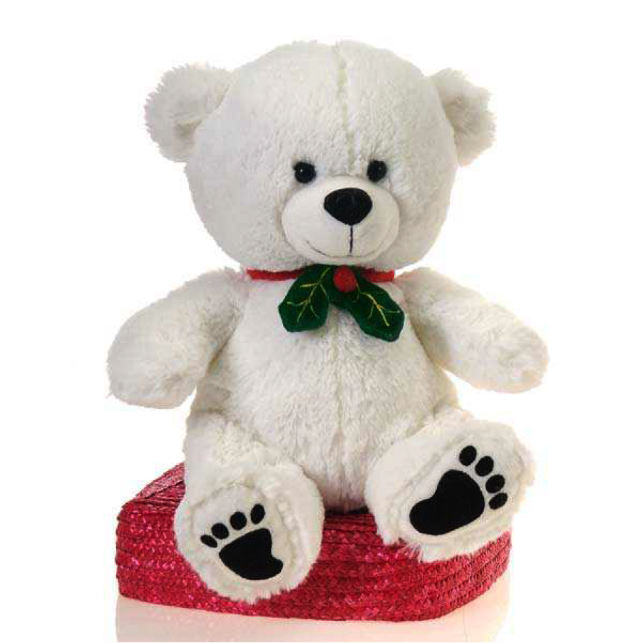 11 Fiesta Toy Cute Cuddly White Christmas Bear with Paw Prints, Holly Bow
