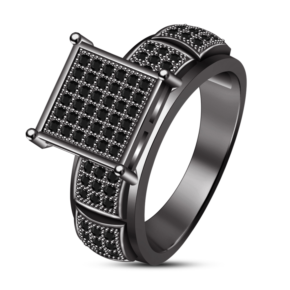 10K Black Gold Over Black Diamond Wedding Band Mens Square Shape Engagement Ring
