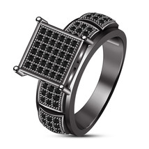 10K Black Gold Over Black Diamond Wedding Band Mens Square Shape Engagement Ring - $86.99
