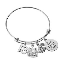 Miss Pink Expandable Wire Bangle Charm Bracelet 18th Birthday Gifts Eigh... - $15.65