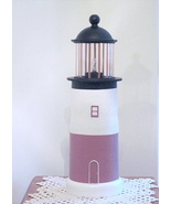 MAUVE, WHITE AND BLACK LIGHTHOUSE  - $39.50