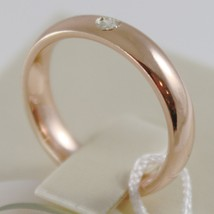 18K ROSE GOLD WEDDING BAND UNOAERRE COMFORT RING 4 MM, DIAMOND MADE IN ITALY image 2