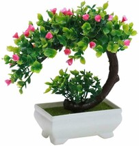 Artificial Bonsai Tree Faux Potted Plant with White Pot Mini 8 inch Gree... - $13.92