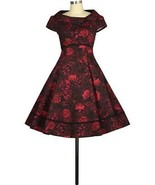 36 S 4 6 BLACK RED ROSE PIN UP FOLD OVER COLLAR COUTURE A-LINE ROCKABILL... - $47.00