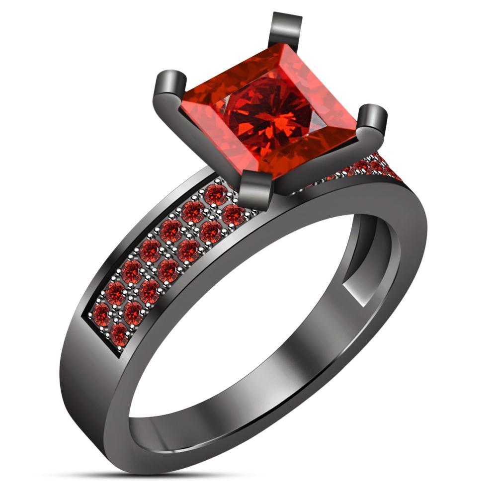 14K Black Gold Finish Princess Red Garnet Engagement Ring Wedding Ring - $76.86