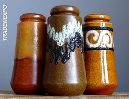 3x Vintage 60-70's SCHEURICH 203-18 Vase Set West German Pottery Fat Lav... - $21.77