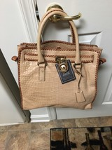 Michael Kors LG Hamilton Leather Croc Embossed Sand/Dusk HTF Color nwot - $190.00
