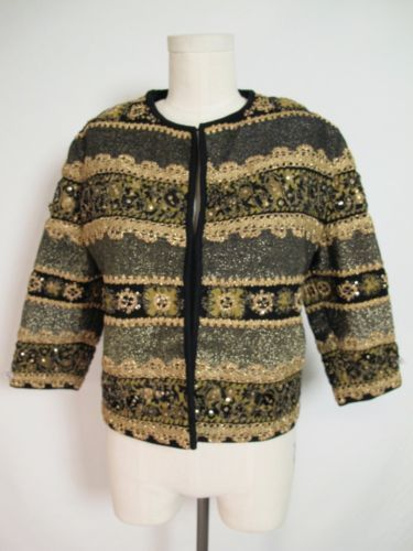 Primary image for VTG 60S AUSTRIA WOOL JACKET EMBROIDERY LACE SEQUINS L M