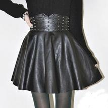 New 2015 Fall Winter Fashion PU Leather High Waisted Skirts Womens Vintage The R