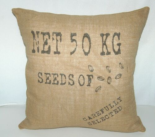Surya Goose Feather Down Seeds Throw Pillow Pure Jute Cover