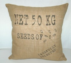 Surya Goose Feather Down Seeds Throw Pillow Pure Jute Cover image 1