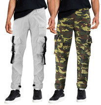 Men's Army Utility Pants Strapping Push Buckle Slim Taper Fit Cargo Pants