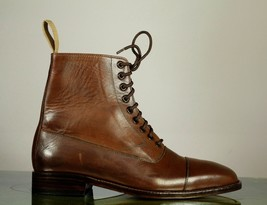 Handmade Men's Brown Leather Cap Toe High Ankle Lace Up Boots image 2