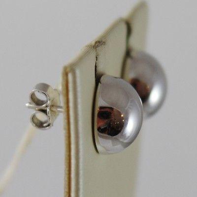 SOLID 18K WHITE GOLD EARRINGS HALF BALL BALLS, 10 MM DIAMETER, MADE IN ITALY
