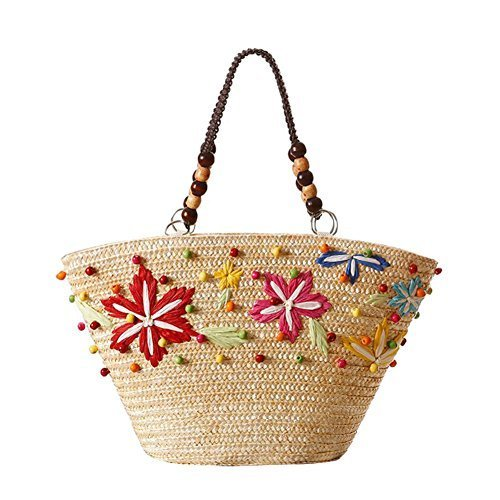 Fashion Vacation Item/Hand Made Embroidery Straw Hand Bag/ Beach Bag