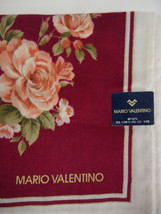 MARIO VALENTINO SAKS Floral Rose with Metallic Gold Detail Scarf 19x19 - $17.87 CAD