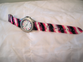 "L02, Geneva, Ladies White Faced Watch, Crystal Surround, 9"" Silicon Band... - $15.99"