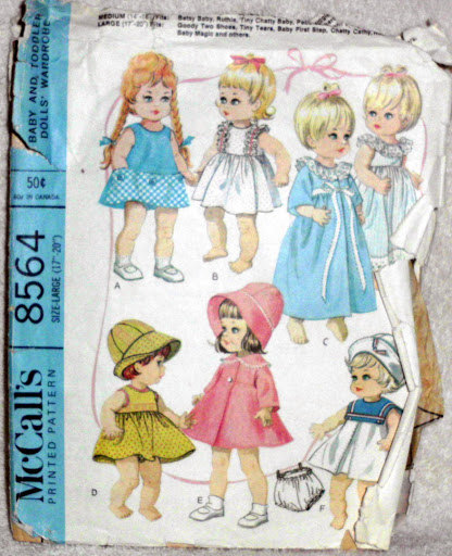 Original Vintage McCalls 8564 12 to 16 inch Baby Doll Wardrobe Sewing Patterns C