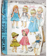 Original Vintage McCalls 8564 12 to 16 inch Baby Doll Wardrobe Sewing Pa... - $24.95