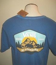 Vans Shoes Mens Mountain Hi Standard SS Tee shirt Blue Logo Patch Free Ship NWT - $21.24