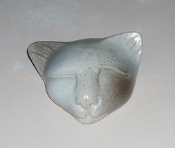 1995 Pottery Happy Sleeping Cat Head Paperweight Figurine Signed W.A.S. - $17.09