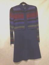 Liz Claiborne Women's Knit Dress Size Medium Striped Sheath Attached Vest - $24.14