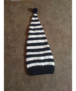 (20)knit striped elf pixie hat  black and white or your choice of colors... - $25.00