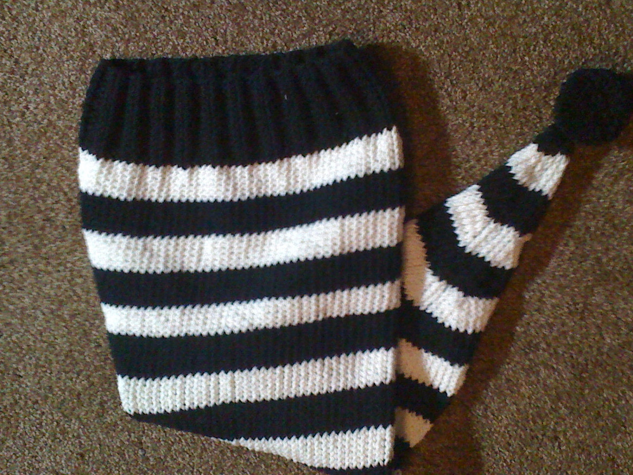 (20)knit striped elf pixie hat  black and white or your choice of colors with po