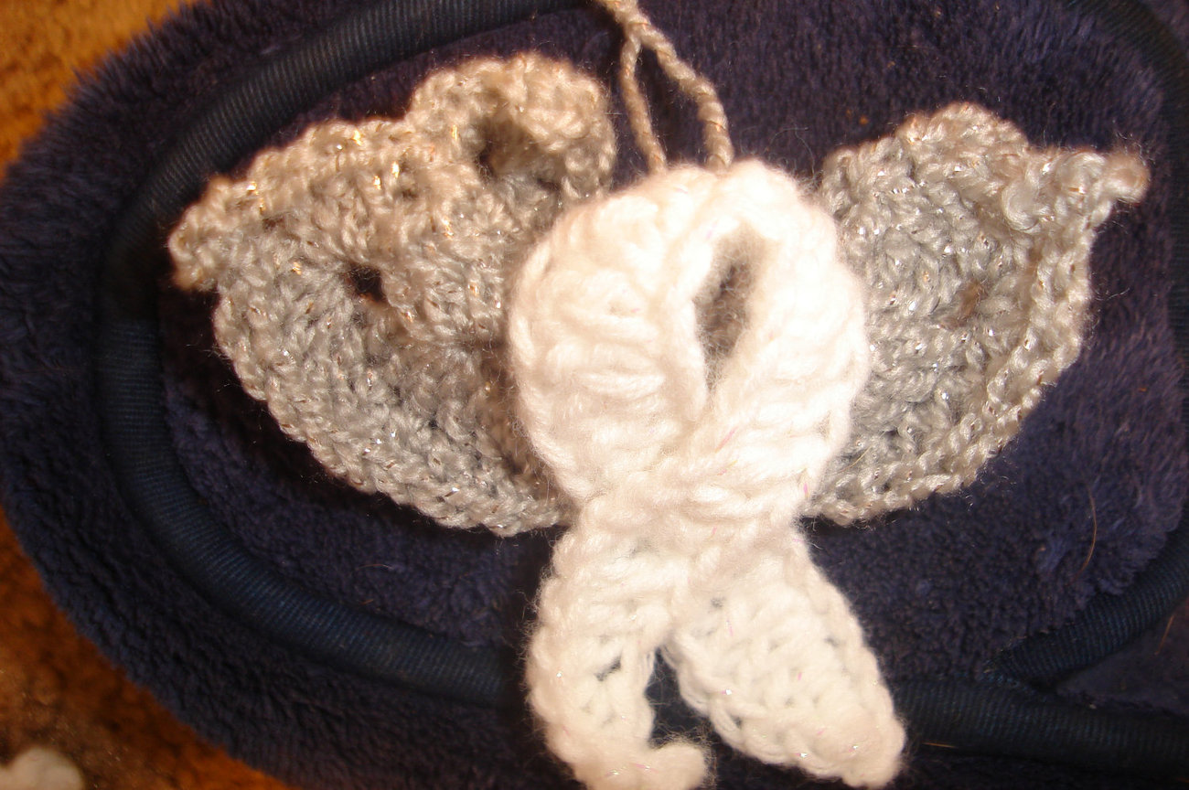 Hand crocheted angel awareness ribbon ornament