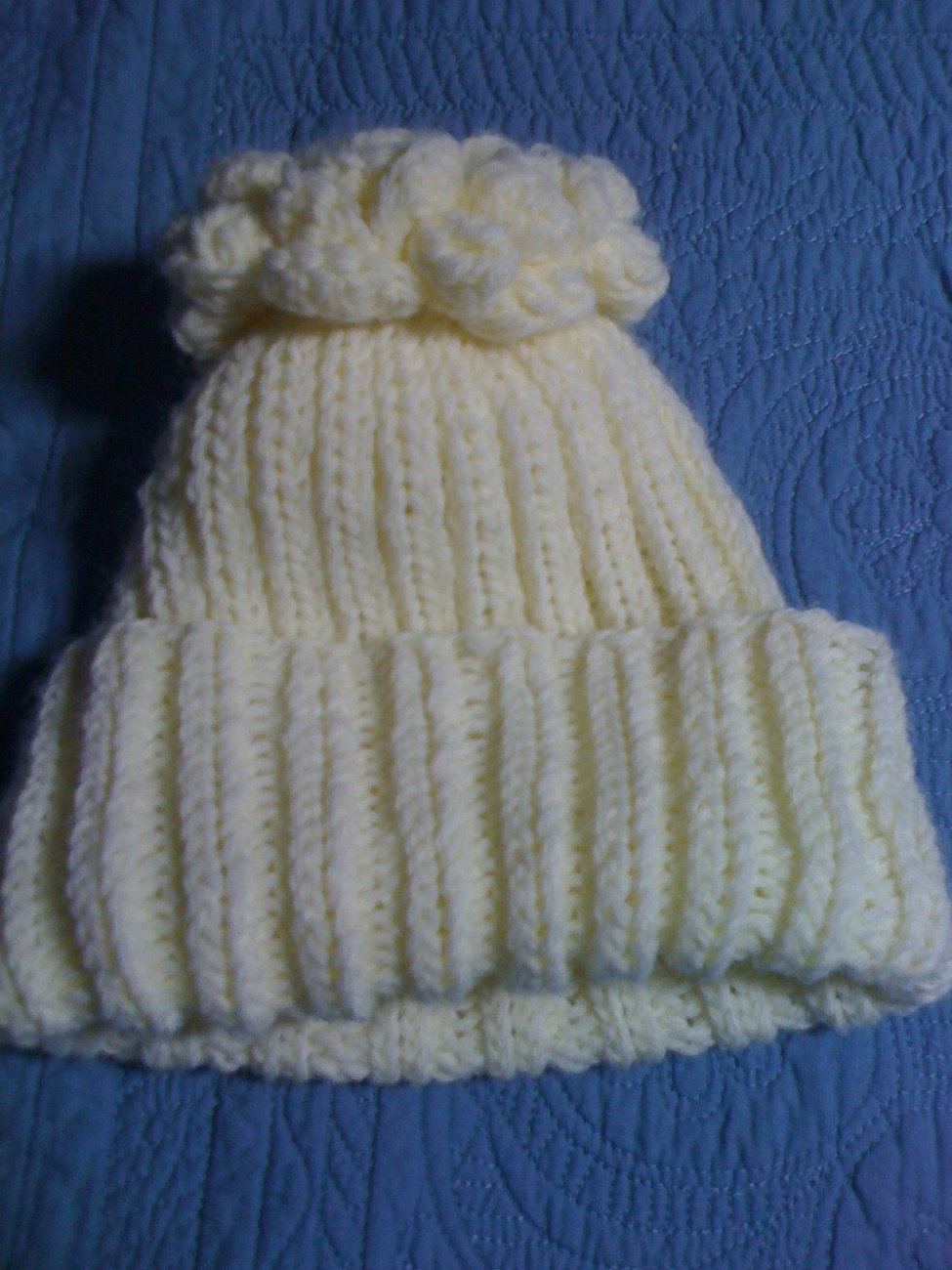 Primary image for knit ivory beanie cap hat ski cap with flower