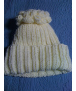 knit ivory beanie cap hat ski cap with flower - $15.00