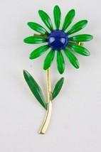 Vintage 1960's- Costume ENAMEL FLOWER PIN- Long Stem- Green/Blue/Gold- 2... - $23.36