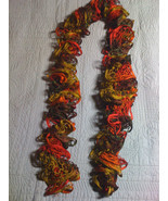 Hand knit lacy ruffle scarf fall colors variegated greens rust red - $20.00