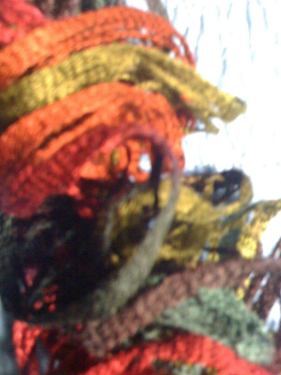 Hand knit lacy ruffle scarf fall colors variegated greens rust red