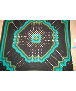 Crocheted afghan/lapghan/coverlet multi greens/black, granny square, ripple - $75.00