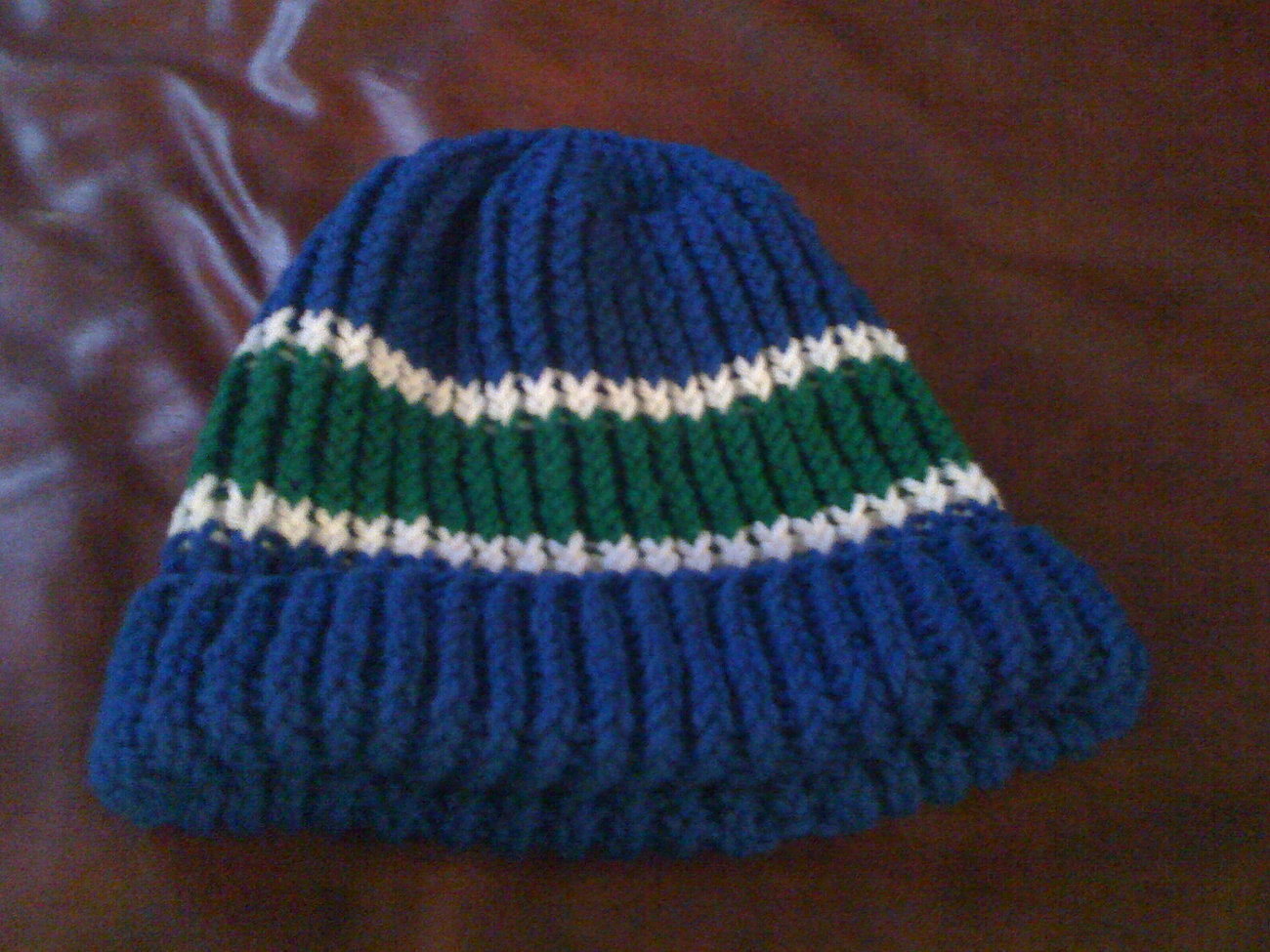 knit blue green and white hat beanie cap hood warm (or color of your choice)