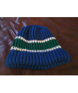 knit blue green and white hat beanie cap hood warm (or color of your cho... - $15.00