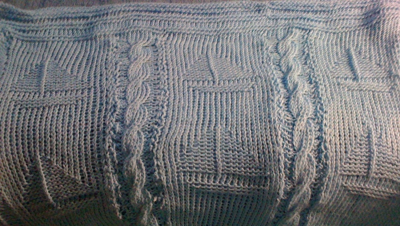 Primary image for baby blue knit afghan with cables and sailboats - soft, machine washable
